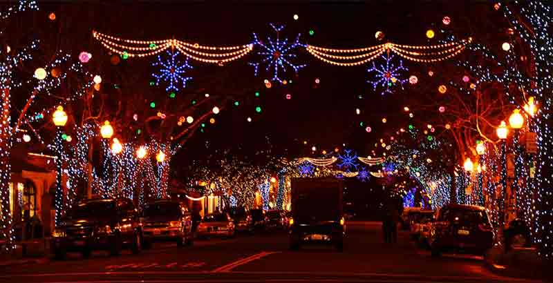 Holiday Lights on Fourth Street in Berkeley CA